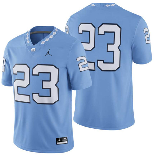 Carolina Blue football jersey with number 23.