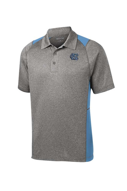 Color Block Performance Polo - Gray and Carolina Blue