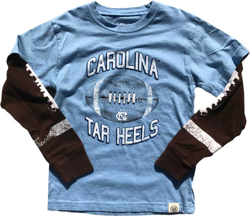 Wes & Willy CHILD Layered Tee - Football Carolina Blue