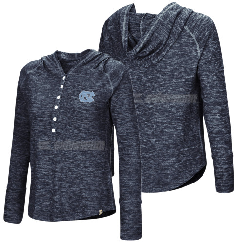 Women's Colosseum TriBlend Henley Hood - Navy Heather