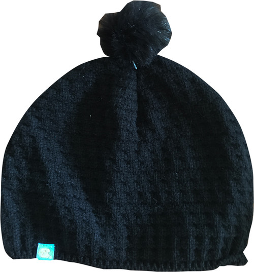 Top of the World Ladies Toboggan with Pom - Black