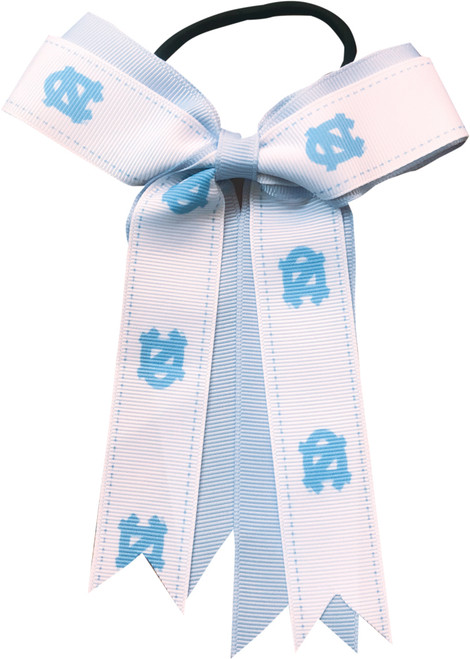 Aminco Carolina Blue and White Bow Ponytail Holder-Repeating NCs