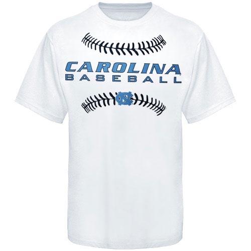Carolina Baseball Stitches Tee Shirt- White