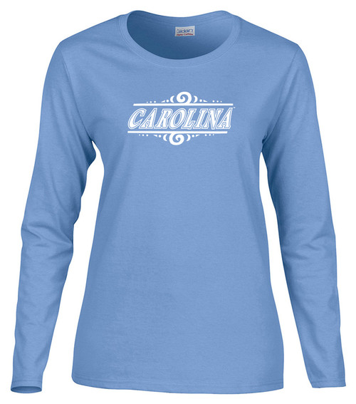 Women's Carolina Long Sleeve Tee - Carolina and Swirls