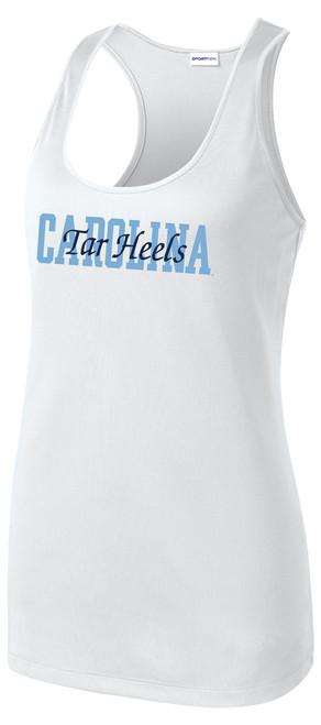 Ladies Carolina Racer Tank - Block Carolina Script Tar Heels