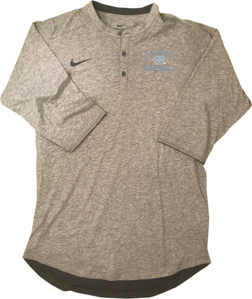 Nike Carolina Baseball Henley - Gray with Left Chest Tar Heels NC Baseball