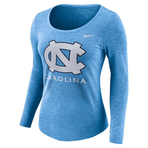 Women's Nike Carolina LONG SLEEVE TriBlend Logo Tee - Carolina Blue