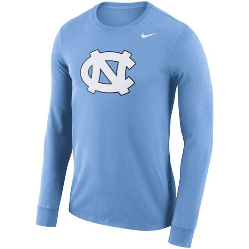 Nike Carolina Long Sleeve Logo Tee - Carolina Blue with NC