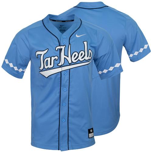 2020 Nike Carolina Baseball Jersey - Full Button Carolina Blue