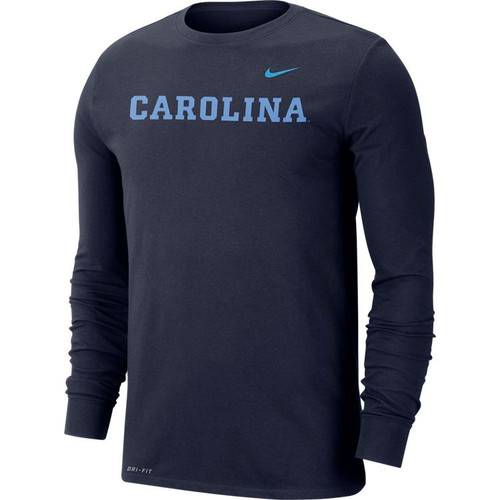Nike Carolina DRIFIT Word LONG SLEEVE Tee - Navy with CAROLINA