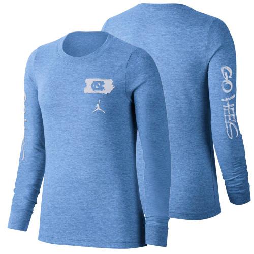 Nike Jordan Women's Long Sleeve Tri-Blend Go Heels T-shirt - Carolina Blue