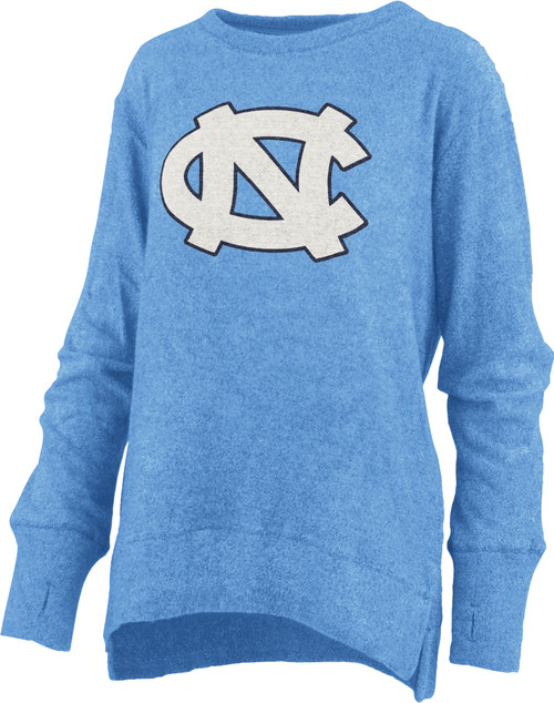Ladies Pressbox 'Fresno' Long Sleeve Crew Neck Terry - Carolina Blue with Chenile NC