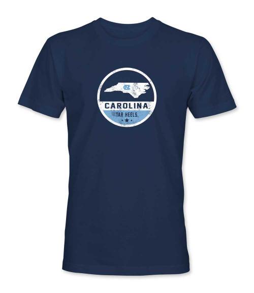 Faded Round State of North Carolina Label Tee Shirt - Navy