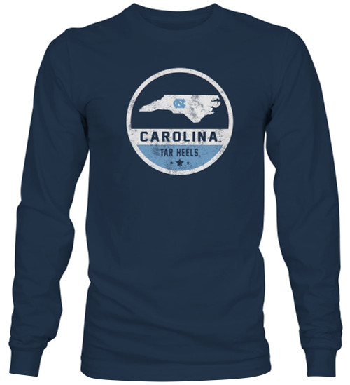 Faded Round State of North Carolina Label LONG SLEEVE Tee Shirt - Navy