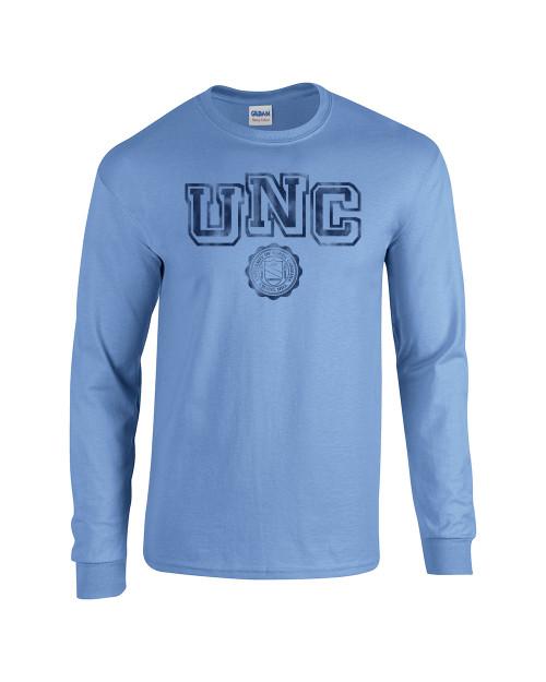 Faded UNC with Seal LONG SLEEVE Tee - Carolina Blue