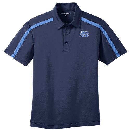 North Carolina Silk Touch Colorblock Stripe Polo - Navy with interlocking NC