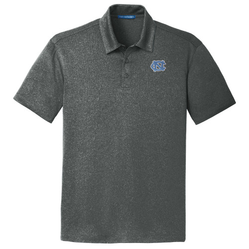 North Carolina Trace Heather Polo - Charcoal Heather with interlocking NC