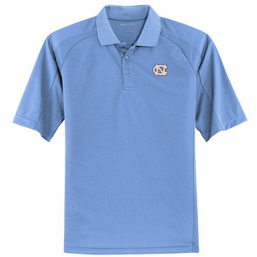North Carolina Dri-Mesh Pro Polo - Carolina Blue with interlocking NC