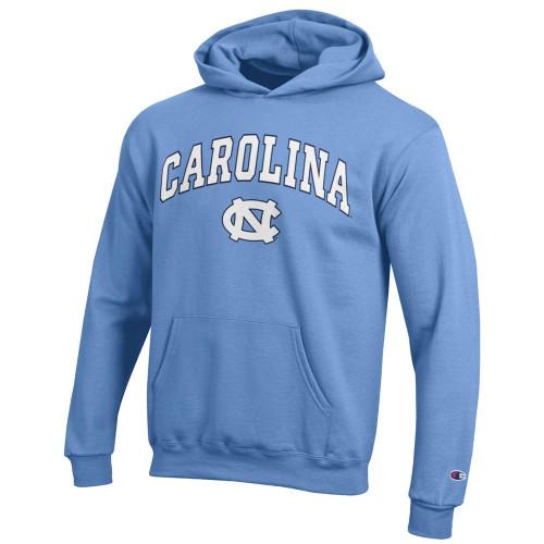 YOUTH Champion Eco Powerblend Hood - Carolina Blue Arc over NC