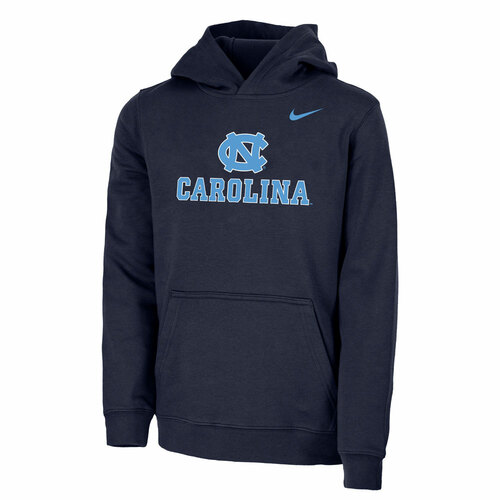 YOUTH Nike Club Fleece Hoody - Navy NC Carolina