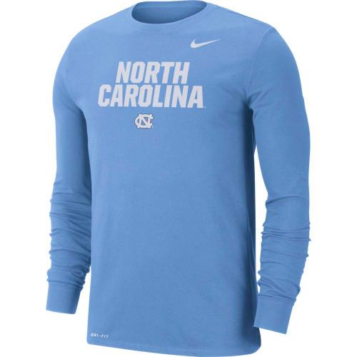 Nike LONG SLEEVE DriFit Tee  Carolina Blue LOCKUP