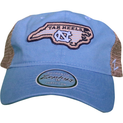 Zephyr Tar Heels State Trucker Hat - Carolina Blue