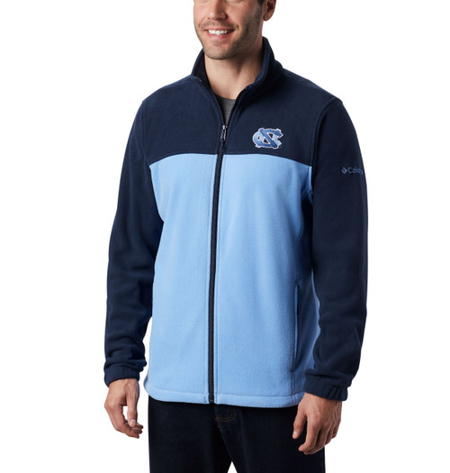 Full zip fleece jacket that is Carolina Blue and navy color blocked.  Interlocking NC embroidered left chest.