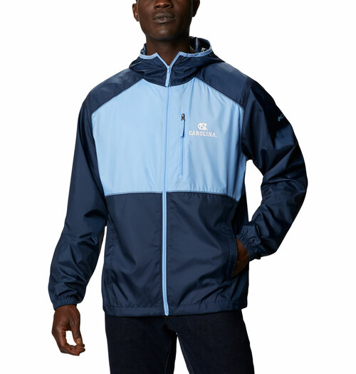 Full zip jacket color blocked Carolina Blue and navy with interlocking NC left chest.