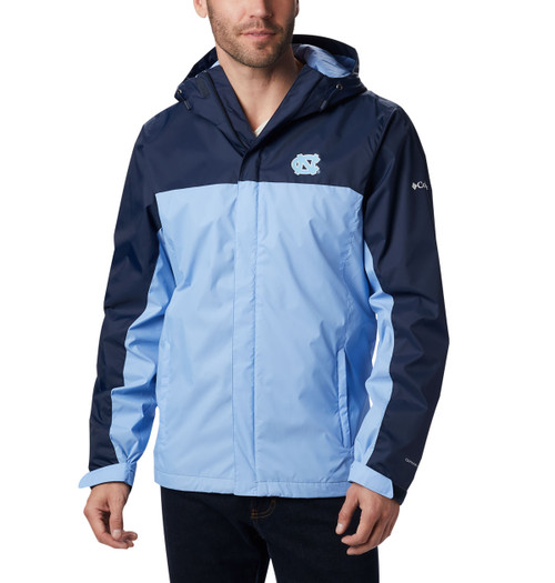 Full zip jacket with Carolina Blue body and navy upper.  Left chest embroidered interlocking NC.
