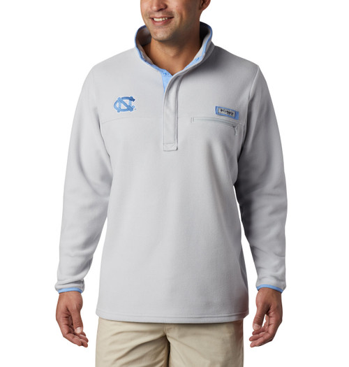 1/4 zip gray fleece with embroidered interlocking NC on the right chest and velcro Columbia tag on the left chest.