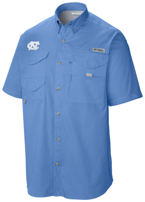short sleeve Carolina Blue full botton sun shirt with interlocking NC on the right chest.