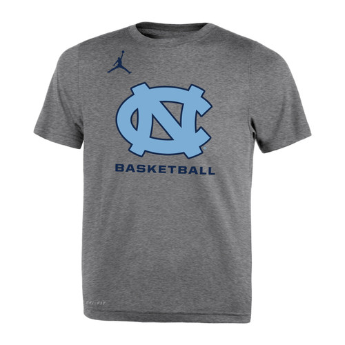 gray tee shirt with an interlocked NC over lettering Basketball