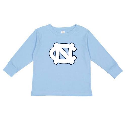 long sleeve light blue tee shirt with an interlocked NC logo