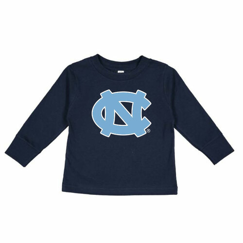 long sleeve navy tee shirt with an interlocked NC logo