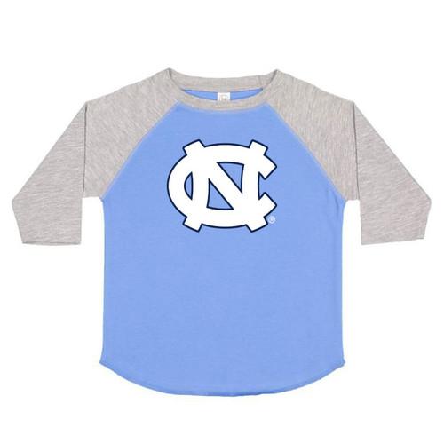 raglan tee shirt with Carolina Blue body and gray sleeves with an interlocked NC