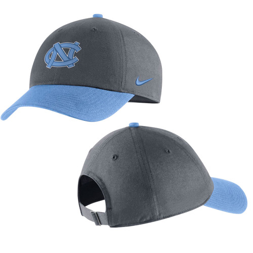 Gray crown with Carolina Blue bill and buttons.  Logo is interlocking NC.