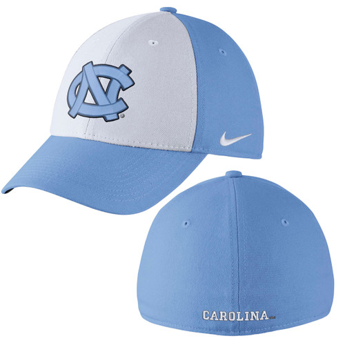Front panel is white with an interlocking NC.  All other panels and the bill are Carolina Blue.