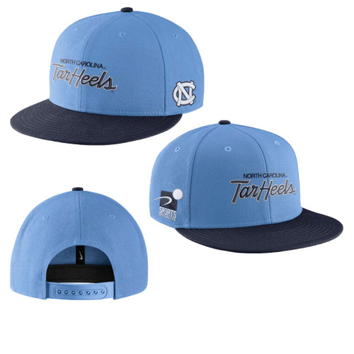 Flat bill hat that the bill is navy and the crown is Carolina Blue.  Logo states North Carolina Tar Heels on the front and an interlocking NC on the side.