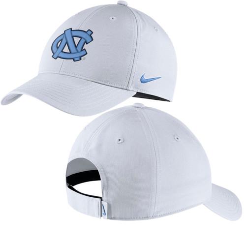 White adjustable hat with interlocking NC