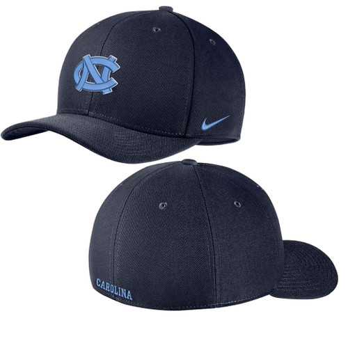 Swooshflex navy hat with the interlocking NC on the front.