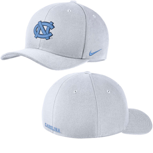 Swooshflex white hat with the interlocking NC on the front.