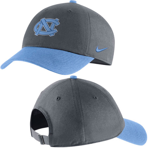 Crown of the hats is charcoal gray and the bill is Carolina Blue.  Logo is the interlocking NC.