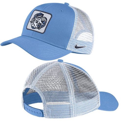 Trucker hat with Carolina Blue front that has a patch with Rameses head on it.  Back is white mesh.