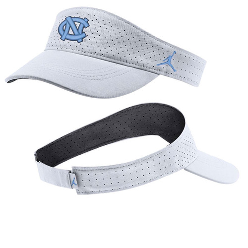 White visor with aero holes.  Interlocking NC on the front and Jumpman on the side.