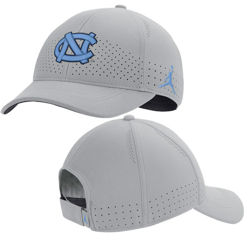 Silver hat with aero ventilation holes and the interlocking NC on the front.