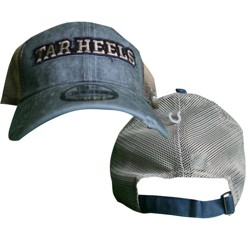 Very dirty looking Carolina Blue hat with white mesh back.  Sewn on letters Tar Heels for the design.