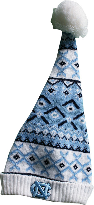 This is a tall toboggan meant to flop over.  It has a pattern like an ugly sweater.  There is an interlocking NC on the cuff.