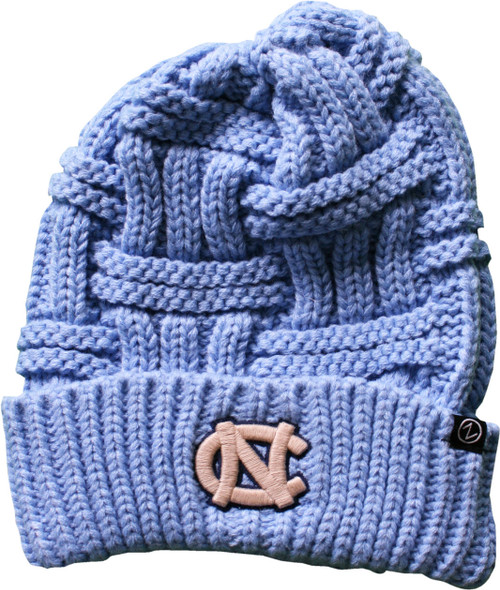 Large weave women's toboggan in Carolina Blue.  Off white interlocked NC embroidered on the cuff.