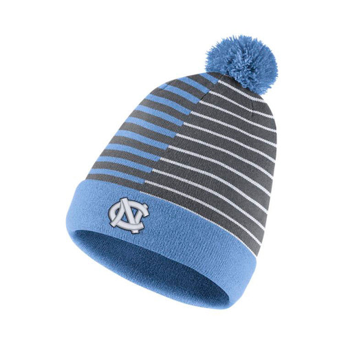 Reversible toboggan - one side is striped and the other is solid.  Striped has interlocking NC and the solid says Go Heels