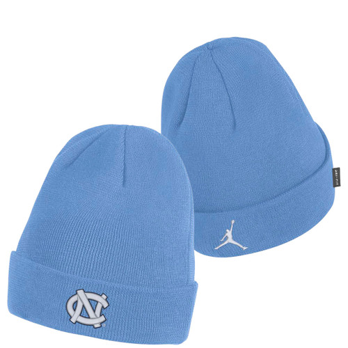 Carolina Blue cuffed toboggan with an interlocking NC